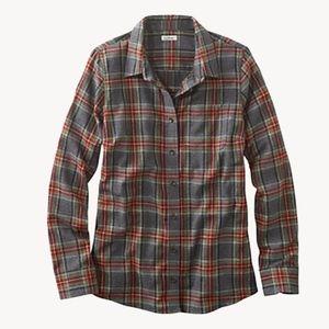 L.L. Bean Scotch Gray Red Plaid Flannel Top Small